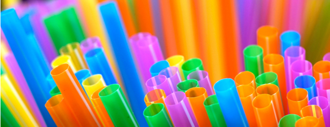 Multicolored plastic drinking straws.