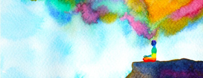 A watercolor painting of a person painted in rainbow colors sitting on a the edge of a cliff.