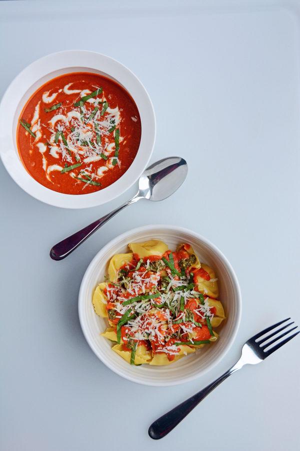 Sun Dried Tomato and Pesto Pasta doubles as Tomato Basil Soup!
