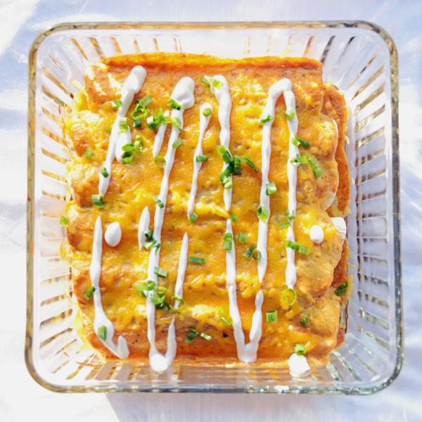 Avocado Ranch Chicken Enchiladas