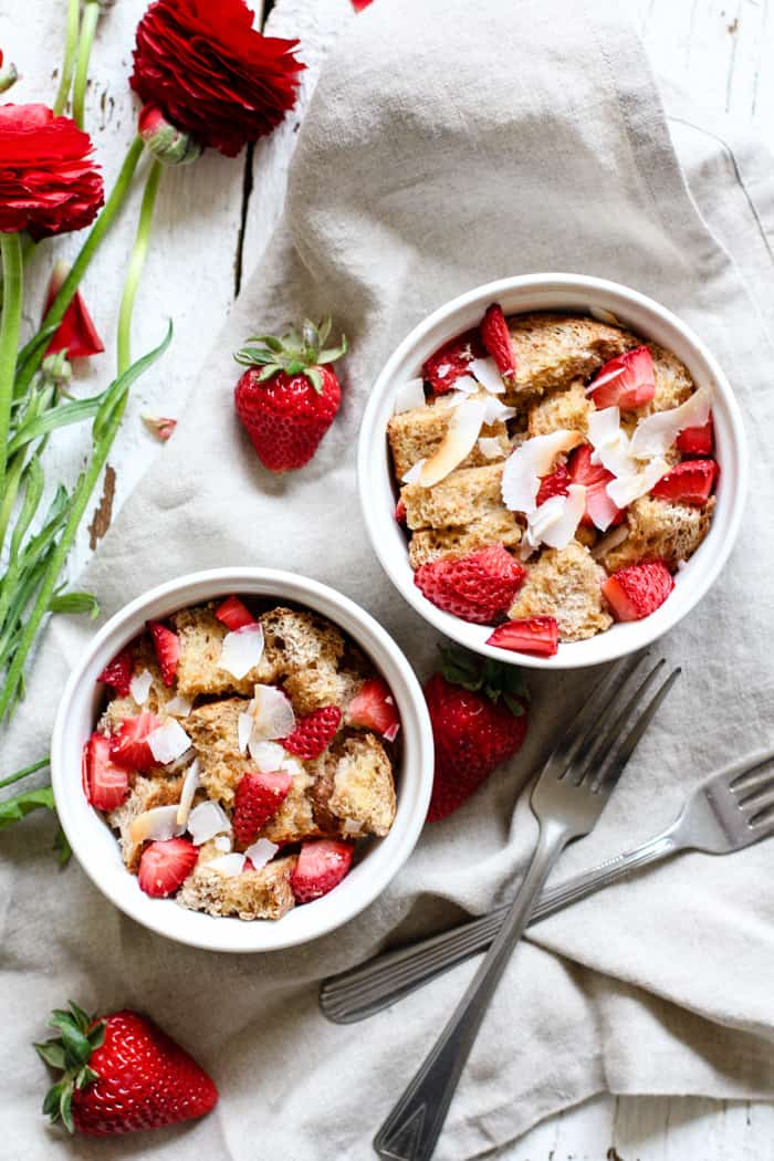 Strawberry Coconut French Toast Bakes for Two - So easy and yummy! And perfect for those lazy Saturdays and Sundays. Sprouted grain bread, fresh strawberries, and coconut flakes. Share with a friend or significant other! | rootsandradishes.com