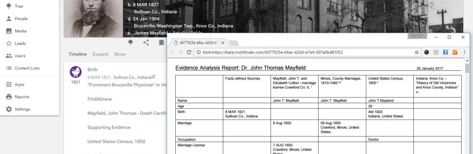 The evidence analysis report is the best new tool for easy family history research