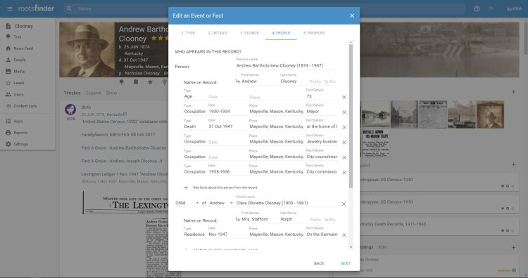 RootsFinder's source-centric approach to data entry supports evidence-based genealogy