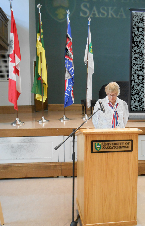 Honouring our heroes - Remember Us - University of Saskatchewan Great War Commemoration Committee Chancellor Emerita Vera Pezer.