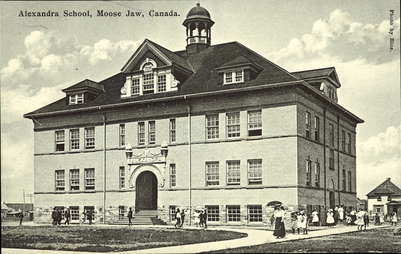 PC011211: Alexandra School, Moose Jaw, Canada is licensed by University of Alberta Libraries under the Attribution - Non-Commercial - Creative Commons license. Permissions beyond the scope of this license may be available at http://peel.library.ualberta.ca/permissions/postcards.html.