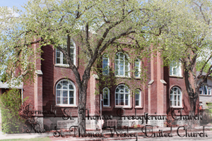 St. Thomas Presbyterian Church now St. Thomas Wesley United Church.    Classes for the Saskatoon Normal School relocated in 1919, to both St. Mary's separate school, and St. Thomas Presbyterian Church which provided space for classrooms.