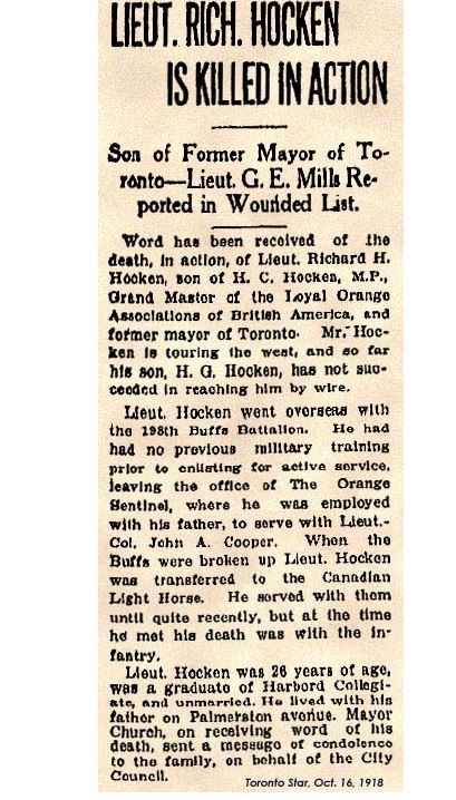 Lieut. Rich. Hocken is killed in action. Son of Former Mayor of Toronto - Lieut. G.E. Mills Reported in Wounded List. Toronto Star, Oct. 16, 1918