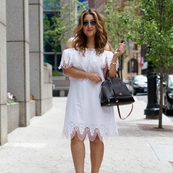 White Lace OTS Dress