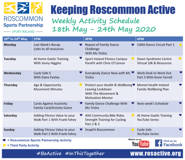 Roscommon Sports Partnership Weekly Activity Schedule 18th-24th May 2020