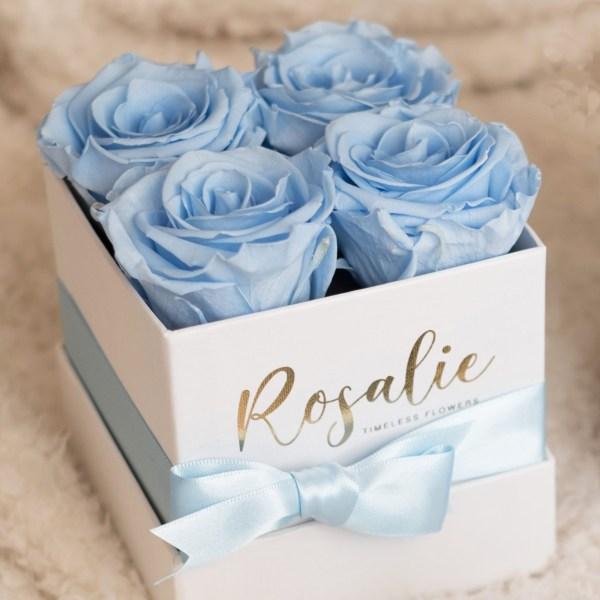 scatola bianca quadrata con 4 rose stabilizzate azzurre e nastro azzurro, poggiata su coperta bianca.