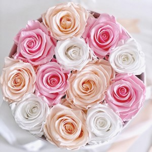 scatola da 12 rose stabilizzate di colore rosa bianco e porcellana in box tondo