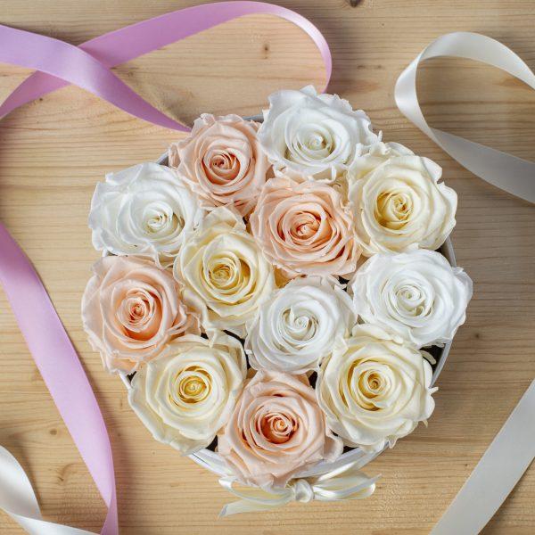 scatola box tonda da 12 rose stabilizzate visto dall'alto. Rose di color rosa porcellana, bianco e panna. Nastro rosa e bianco vicino alla scatola. Tutto appoggiato su tavolo di legno chiaro.