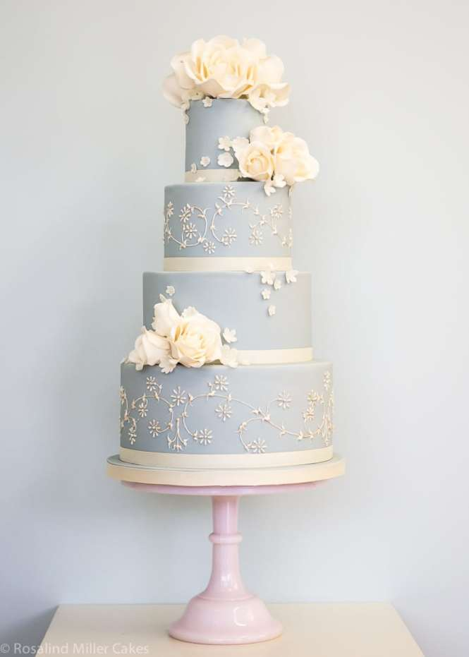 Powder Blue And Ivory Roses Wedding Cake
