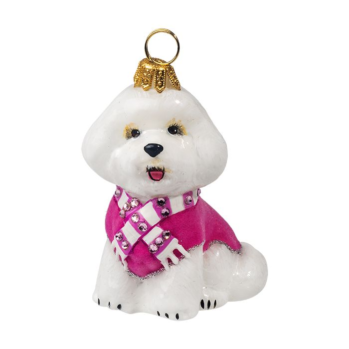 xmas_kerstbal_ornament_hond_bichon_frise_roze_fluweel_jas _scarf