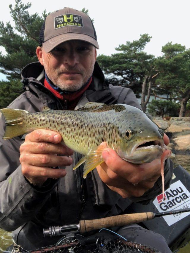 Fiske sjøørret med flue