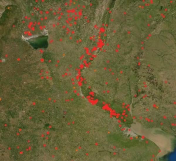 El mapa satelital de los incendios forestales.