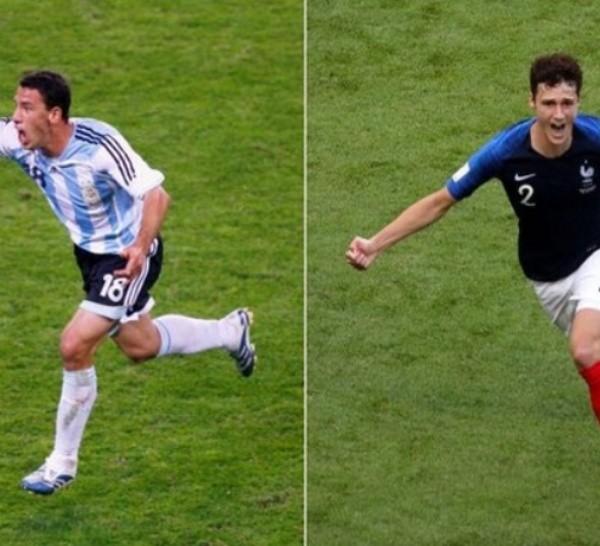 Maxi le marcó a México en 2006. Pavard, a Argentina en 2018. Ambos en octavos de final.