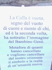 Il duro comunicato della Diocesi di Perugia, per motivare la chiusura del Presepe dopo il secondo furto.