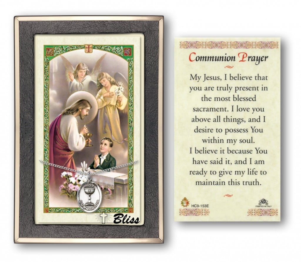 First Holy Communion Boy Prayer Card With Silver Medal