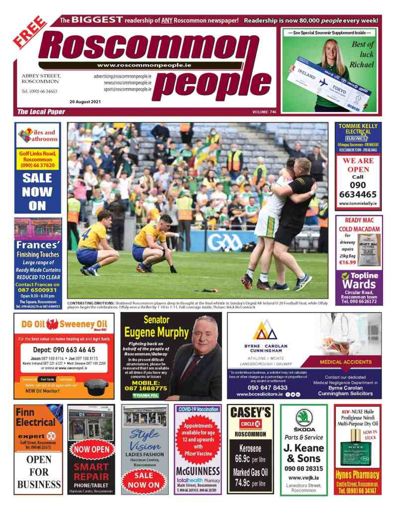 Roscommon People newspaper 20 of August 2021, Digital edition