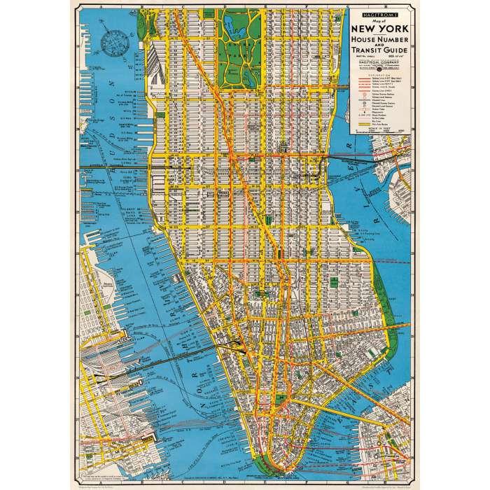Poster Affiche Plan New York Manhattan Vintage