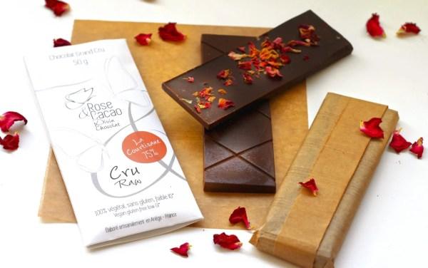 La courtisane - Tablette chocolat cru et pétales de rose