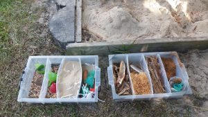Equipment such as nature collage box of items we had previously collected and treasure search were accessed.