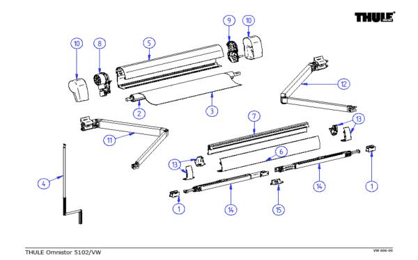 Thule Omnistor 5102 (California) Spare Parts