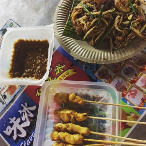 Chicken satay and char kway teow