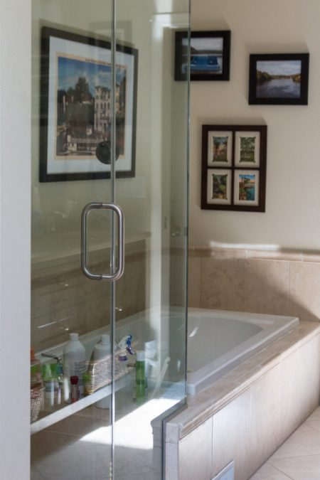 A solution with equal parts Dawn and vinegar cleans a glass shower quickly and effectively. I share my other simple glass shower cleaning tips as well. | https://www.roseclearfield.com