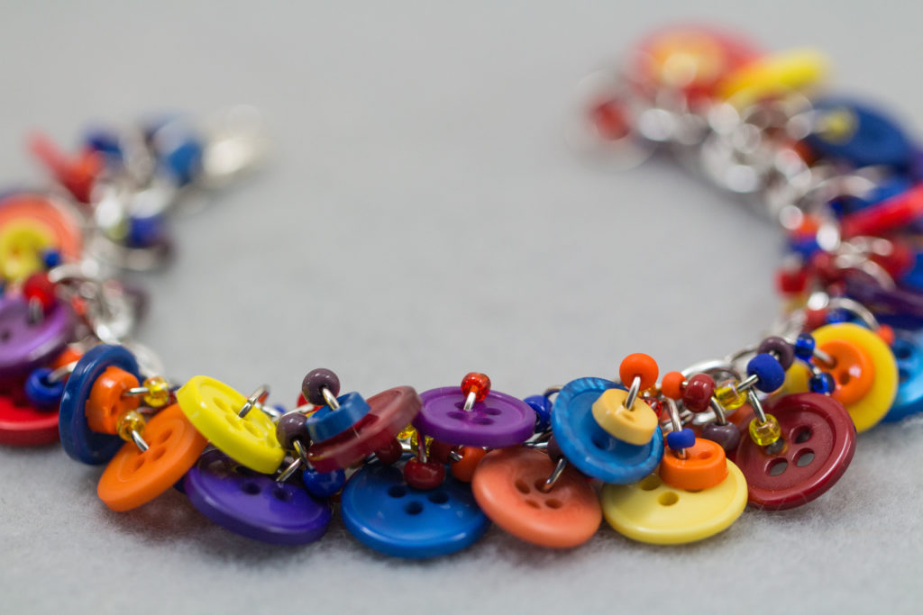 Red Orange Yellow Blue Purple Button Charm Bracelet