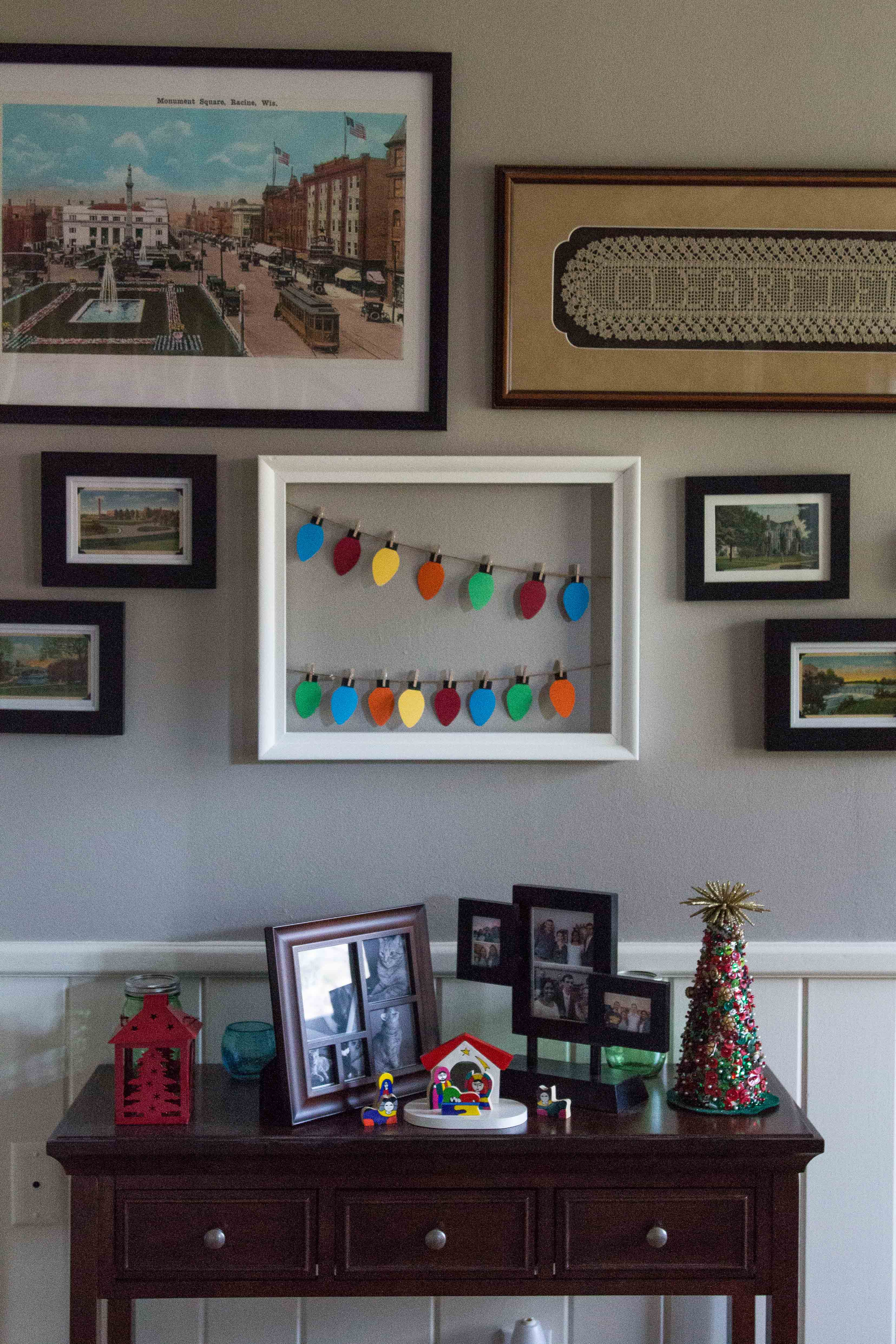 A handmade paper Christmas lights display is perfect for an entryway or living room. | http://www.roseclearfield.com