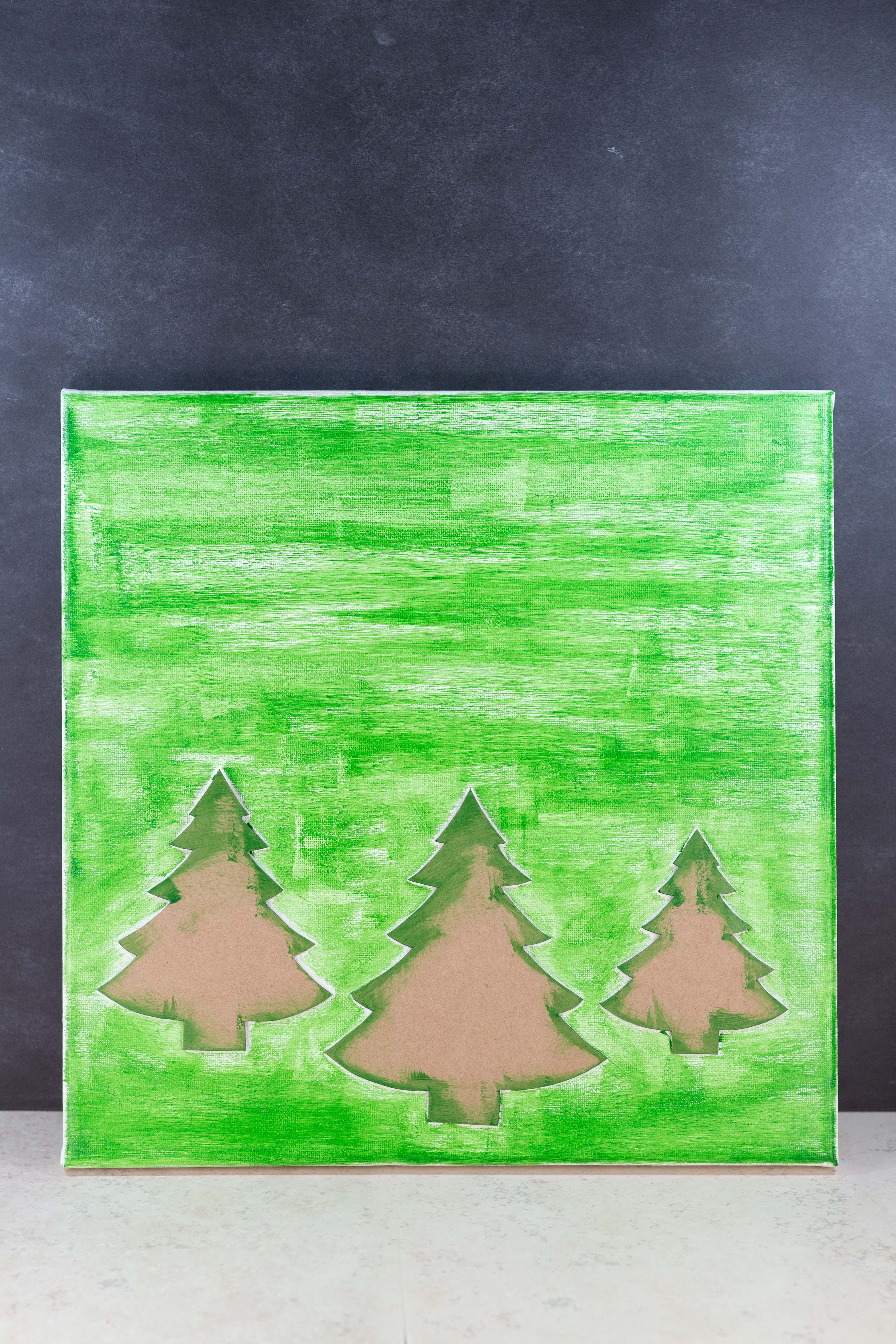 DIY Pine Tree Holiday Decor Canvas Wall Art | https://www.roseclearfield.com