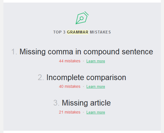The weekly Grammarly report includes a short summary of your top three mistakes from the past week. | https://www.roseclearfield.com