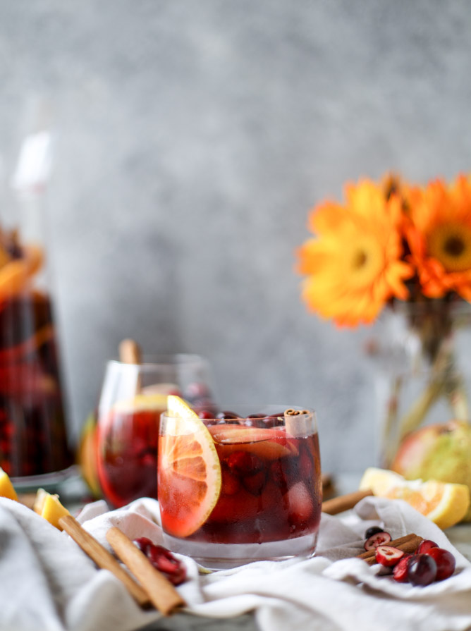 Last-Minute New Year's Eve Party Ideas - Cranberry Chai Sangria | http://www.roseclearfield.com
