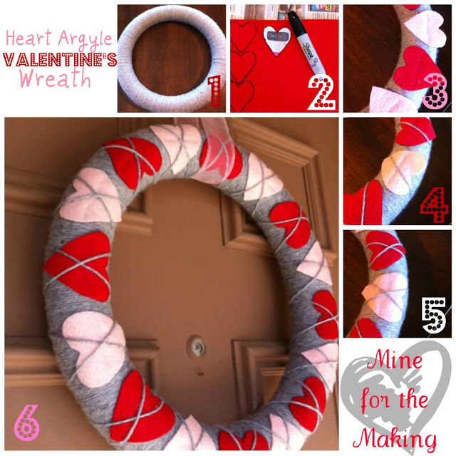 Heart Argyle Valentine's Wreath via Mine for the Making | http://www.roseclearfield.com