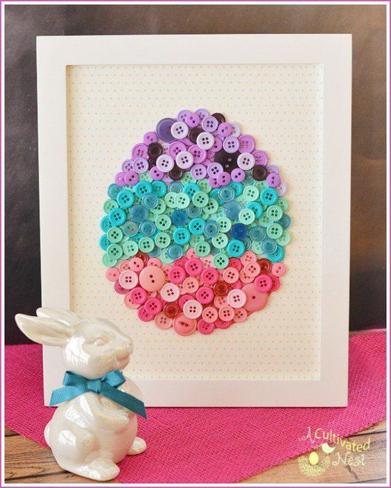 DIY Easy Easter Decor Ideas - Button Easter Egg via A Cultivated Nest | http://www.roseclearfield.com
