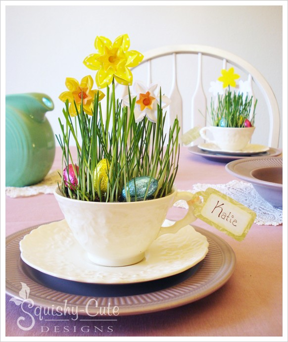 DIY Easy Easter Decor Ideas - Teacup Spring Craft via Squishy Cute Designs | http://www.roseclearfield.com