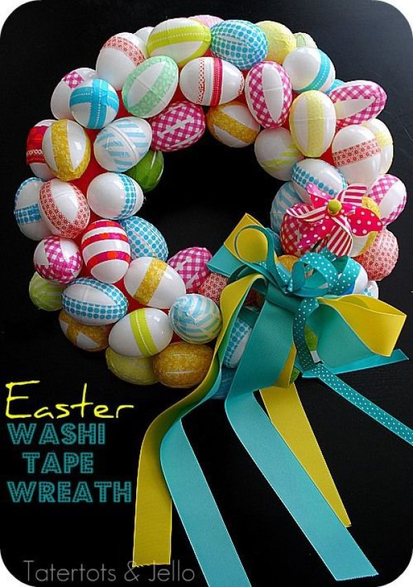 DIY Easy Easter Decor Ideas - Washi Tape Easter Egg Wreath via Tater Tots and Jello | http://www.roseclearfield.com