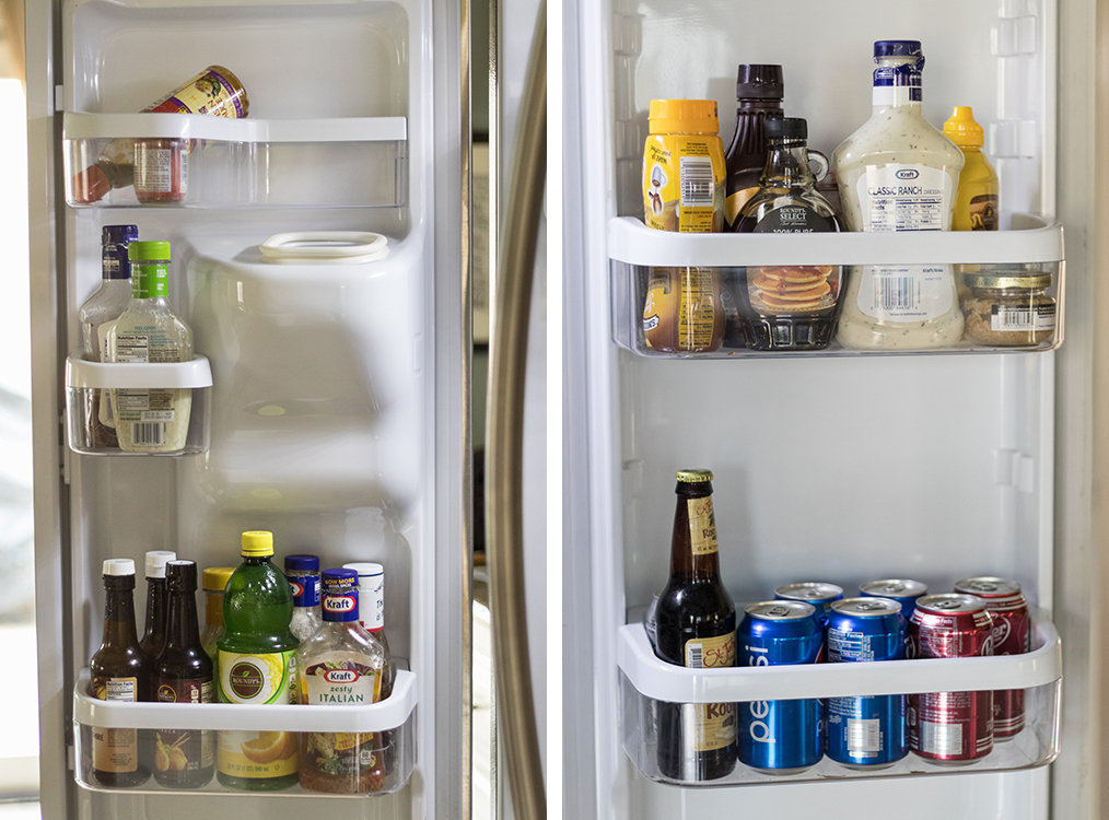 10 Quick Decluttering Projects to Organize Your Home - Fridge Door Condiments | https://www.roseclearfield.com