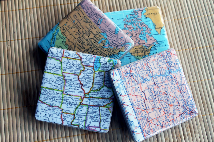 Last Minute DIY Father's Day Gift Ideas - DIY Map Coasters via The Country Chic Cottage | http://www.roseclearfield.com