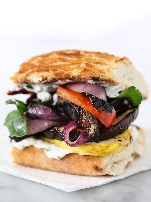 30 Days of Healthy Grilling Recipes - Grilled Vegetable Sandwich with Herbed Ricotta via Foodiecrush | http://www.roseclearfield.com