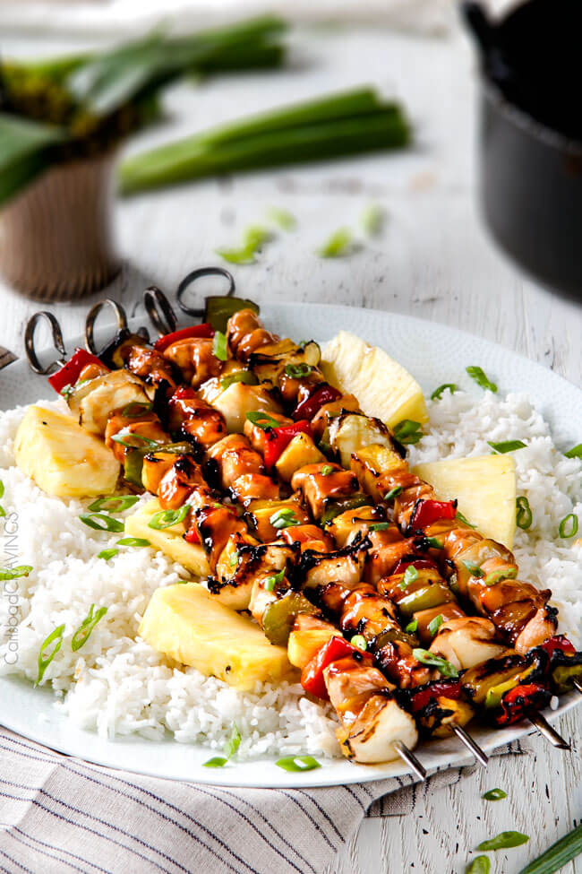 30 Days of Healthy Grilling Recipes - Hawaiian Chicken Kabobs via Carlsbad Cravings | http://www.roseclearfield.com