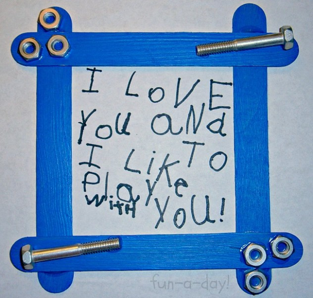 Last Minute DIY Father's Day Gift Ideas - Nuts and Bolts Frame via Fun-A-Day | http://www.roseclearfield.com