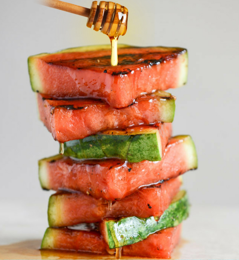 30 Days of Grilled Desserts - Honey Glazed Grilled Watermelon via Grill Lovers | https://www.roseclearfield.com