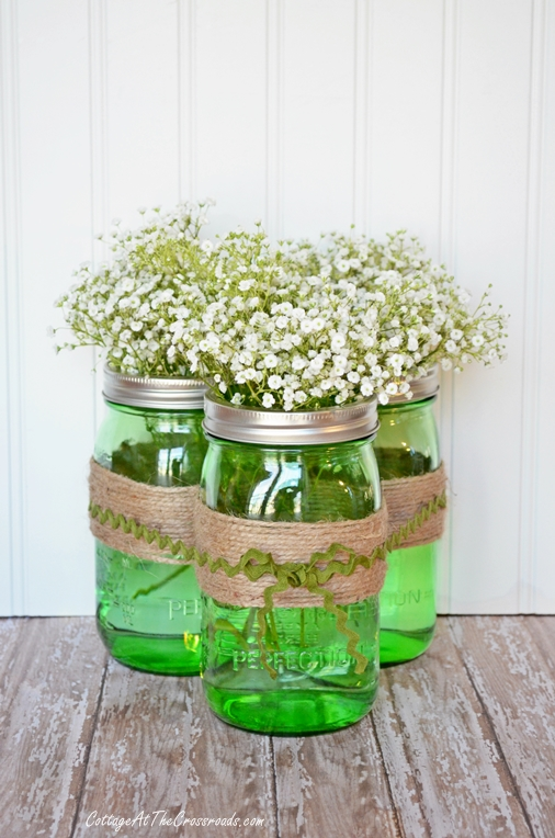 Green Mason Jars Baby's Breath Centerpiece via Cottage at the Crossroads | http://www.roseclearfield.com