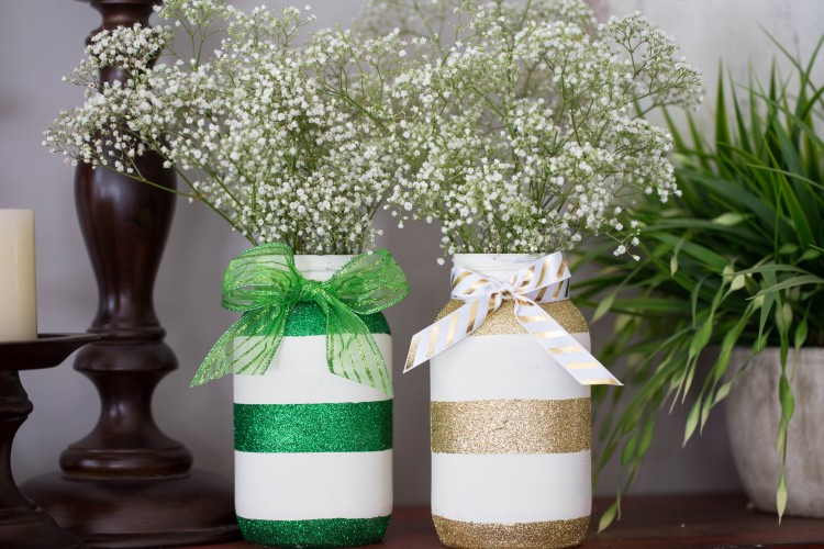 Green and Gold Glitter Striped Mason Jars This via Grandma Is Fun | http://www.roseclearfield.com