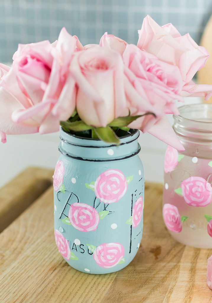 Spring Mason Jar Decor - Painted Rose Mason Jars via It All Started With Paint | http://www.roseclearfield.com