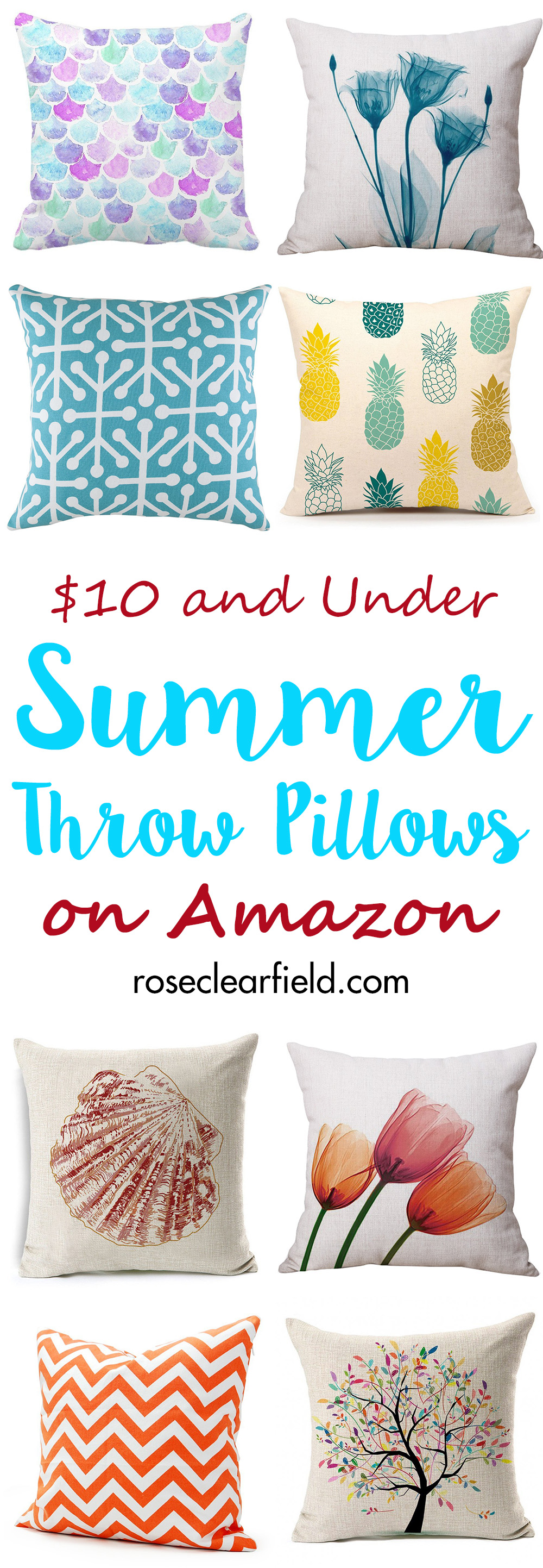 $10 and Under Summer Throw Pillows on Amazon | http://www.roseclearfield.com