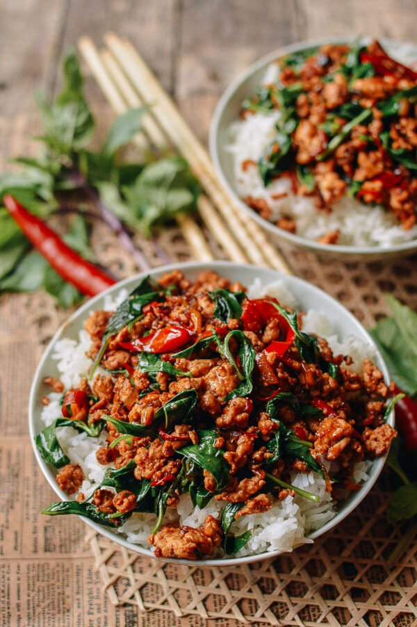Back to School Healthy Lunches for Adults - 10 Minute Thai Basil Chicken Easy Gai Pad Krapow via The Woks of Life | http://www.roseclearfield.com